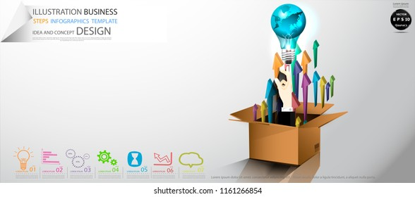 Cardboard boxes- Hands Businessman  pointing   Light bulbs world   - Arrow Colorful, icon,Illustration Business Steps Infographics Template Idea and concept design.