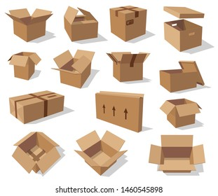 Cardboard boxes isolated mockups. Vector empty paper containers, open and closed packs with freight sign, arrows showing side to carry. Carton box in 3D design, delivery, transportation and shipping
