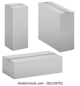 Cardboard boxes isolated on white. Vector illustration.