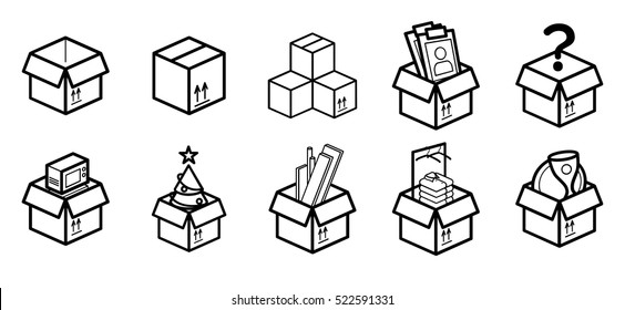 Cardboard boxes for moving Minimalistic Flat Line Stroke Icon Pictogram Illustration set Collection