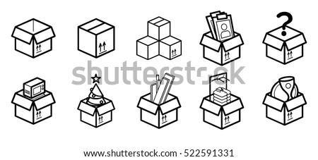 cardboard boxes moving minimalistic flat line のベクター画像素材