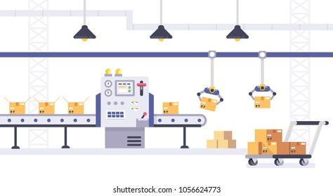Kartonboxen auf Förderband in Fabrik. Paket- und Produktionslinien-Konzept im flachen Stil. Industriemaschine, Vektorgrafik.