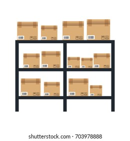 cardboard boxes on warhouse shelves carton delivery packaging