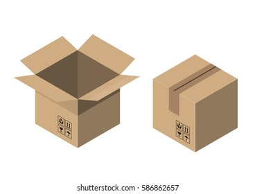 cardboard boxes on white background vector