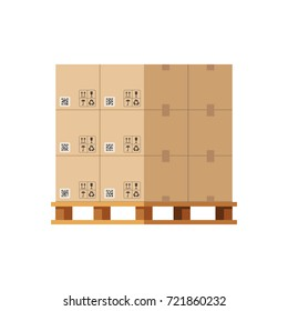 Cardboard boxes on wooded pallet. Vector illustration isolated on white background