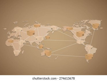 Cardboard boxes on world map background