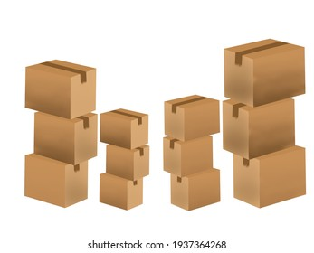 Cardboard boxes packed for delivery