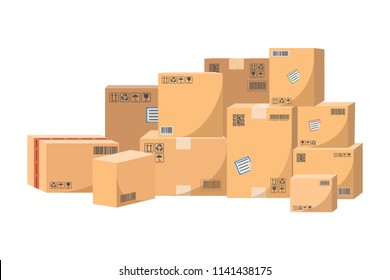 Cardboard boxes for packing and transportation of goods. Vector illustration.