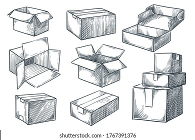 Cardboard boxes set. Closed and open empty postal packages collection. Vector hand drawn sketch illustration. Pile of carton mailboxes, isolated on white background
