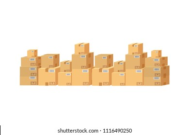 cardboard boxes set on white background isolated eps10 vector illustration