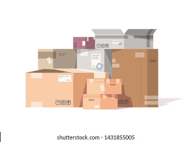 Cardboard boxes stack. Carton parcels and delivery packages pile, flat warehouse goods and cargo transportation. Vector isolated sealed boxes on white background