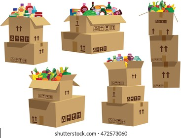 Cardboard boxes stacked with goods.