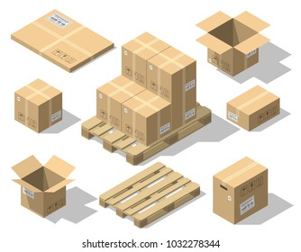 Cardboard boxes and wood pallet isometric set isolated on white background