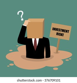 Cardboard businessman sinking in a quicksand. Investment risk concept
