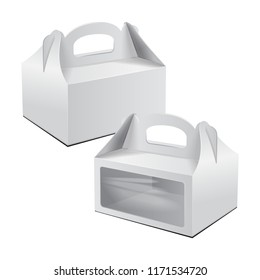 Cardboard Cake Box. For Fast Food, Gift, etc. Carry Packaging. Set of Vector Mockup. White Template of package for your design