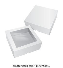 Cardboard Cake White Box. For Fast Food, Gift, etc. Carry Packaging. Template of package. Vector Mockup set for your design