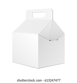 Cardboard Carry Packaging Box For Fast Food Meal, Gift Or Other Products. Illustration Isolated On White Background. Mockup Template Ready For Your Design. Vector EPS10