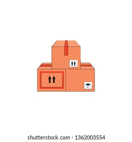 Cardboard carton box set, stack of three brown package delivery shipping containers with markings. Vector illustration with flat isolated object pile on white background.