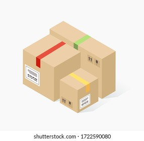Cardboard carton boxes. Delivery service, parcels, post office, transport company isometric concept. Trendy flat 3d isometric style. Vector illustration.