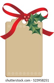 Cardboard Christmas tag with light snowflake border, tied with holly and ribbon, vector