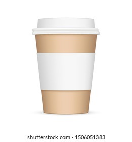 Cardboard coffee cup with sleeve mockup - front view. Vector illustration
