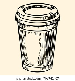 Cardboard coffee cup. Vector illustration in sketch style. EPS 10.