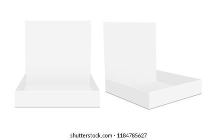 Cardboard counter display box mock up in front and side view. Vector illustration
