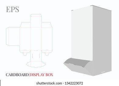Cardboard Display Box Template with die cut lines. Vector with die cut/ laser cut. White, blank, clear, isolated Slim Dispenser Box mock up on white background with perspective view. Packaging Design