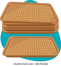 Cardboard empty tray. Clean trays pile. Isolated. Set.