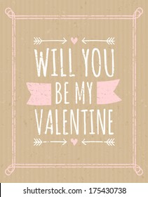 Cardboard greeting card design for Valentine's Day.