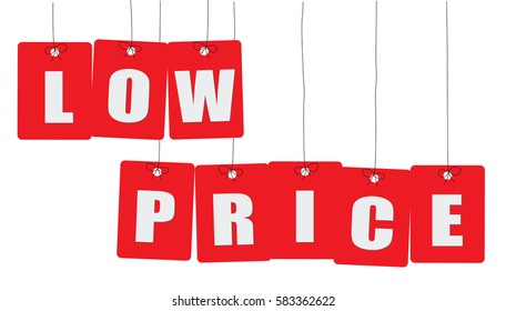 Cardboard hanging - vector colorful. Tags - low price