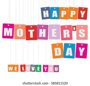 Cardboard hanging - vector colorful. Tags - happy mother's day