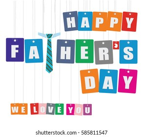 Cardboard hanging - vector colorful. Tags - happy father's day