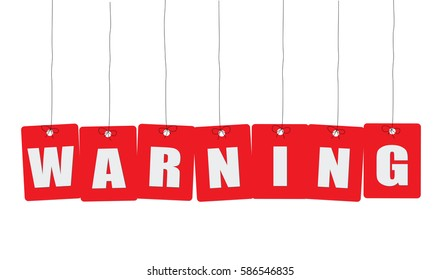Cardboard hanging - vector colorful. Tags - warning