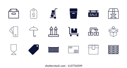 Cardboard icon. collection of 18 cardboard filled and outline icons such as tag, cargo box, sale tag, box, cargo arrow up. editable cardboard icons for web and mobile.