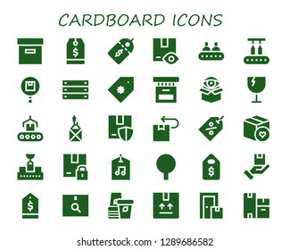 cardboard icon set. 30 filled cardboard icons. Simple modern icons about  - Box, Tag, Price label, Package, Conveyor, Price tag, Fragile, Label, Paper cup, Boxes