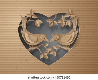 cardboard with love Birds perched on a branch of a tree forming a heart shape.paper art style.