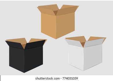 Cardboard Open Box. Side View. Package Design. Isolated on Gray