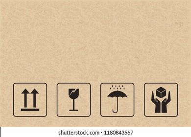 Cardboard packaging icon set. Fragile care sign and symbol. Vector illustration.