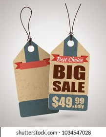 Cardboard price tag or big sale label template in retro style and an empty label behind. Vector illustration