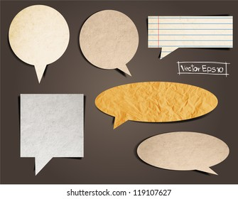 Cardboard Structure With Paper Speech Bubble, Vector template