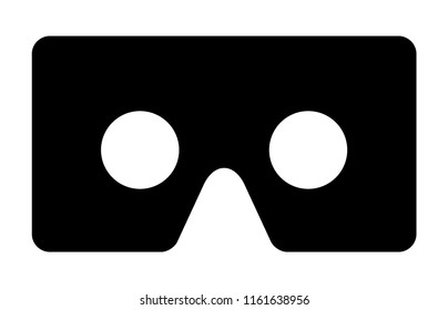 Cardboard virtual reality head mount viewer for smartphones flat vector icon for VR apps and websites