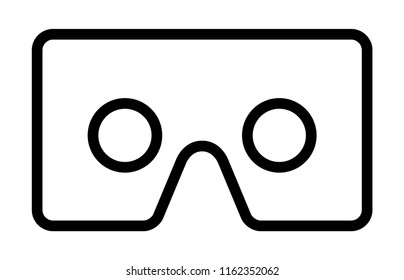 Cardboard virtual reality head mount viewer for smartphones line art vector icon for VR apps and websites