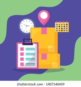cardboxes clipboard calendar clock pointer navigation fast delivery business vector illustration