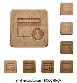 Cardholder of credit card on rounded square carved wooden button styles
