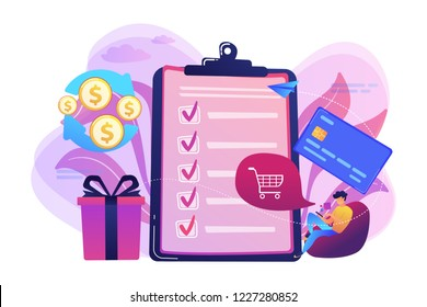 Cardholder with smartphone shopping online and getting cach rewards and checklist. Cash back service, cash back rewards, money back concept. Bright vibrant violet vector isolated illustration