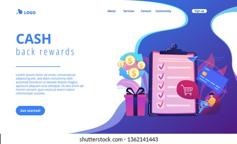 Cardholder with smartphone shopping online and getting cach rewards and checklist. Cash back service, cash back rewards, money back concept. Website vibrant violet landing web page template.