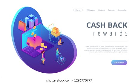 Cardholders shopping, paying and getting cash rewards and laptop with piggy bank. Cash back service, cash back rewards, money back concept. Isometric 3D website app landing web page template