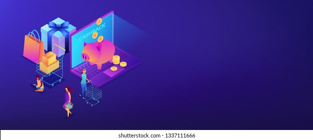 Cardholders shopping, paying and getting cash rewards and laptop with piggy bank. Cash back service, cash back rewards, money back concept. Isometric 3D banner header template copy space.