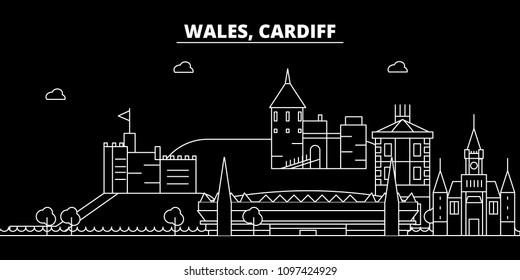 Cardiff silhouette skyline. Wales - Cardiff vector city, welsh linear architecture, buildings. Cardiff travel illustration, outline landmarks. Wales flat icon, welsh line banner